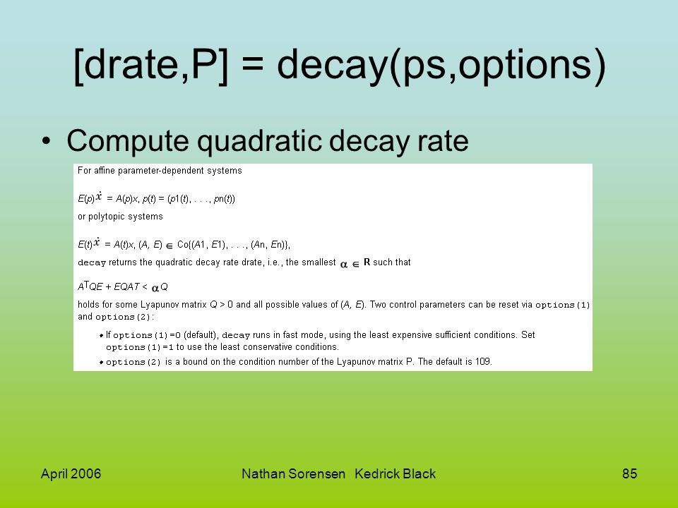 [drate,P] = decay(ps,options)